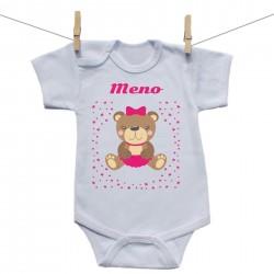 Body s krátkym rukávom s menom dieťaťa Medvedík Dievča