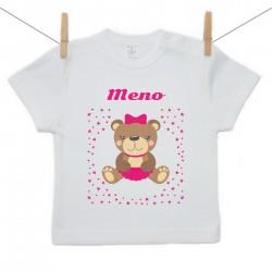 Tričko s krátkym rukávom s menom dieťaťa Medvedík Dievča