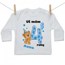 Tričko s dlhým rukávom Už mám 4 roky s Medvedíkom a menom dieťatka Chlapec