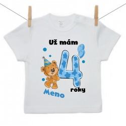 Tričko s krátkym rukávom Už mám 4 roky s Medvedíkom a menom dieťatka Chlapec