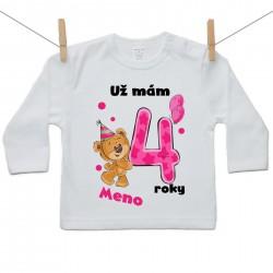 Tričko s dlhým rukávom Už mám 4 roky s Medvedíkom a menom dieťatka Dievča