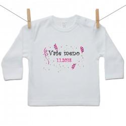 Tričko s dlhým rukávom s menom dieťaťa a dátumom Dievča