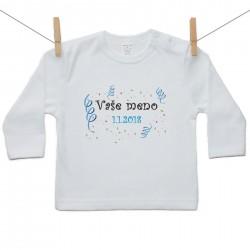 Tričko s dlhým rukávom s menom dieťaťa a dátumom Chlapec