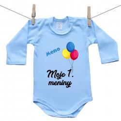 Modré body s dlhým rukávom Moje 1. meniny s menom dieťatka Chlapec