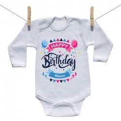 Body s dlhým rukávom Happy birthday s menom dieťatka