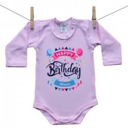Ružové Body s dlhým rukávom Happy birthday s menom dieťatka