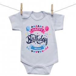 Body s krátkym rukávom Happy birthday s menom dieťatka