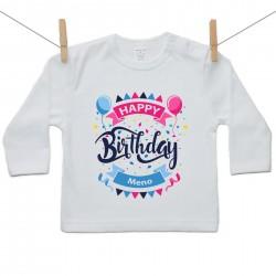 Tričko s dlhým rukávom Happy birthday s menom dieťatka