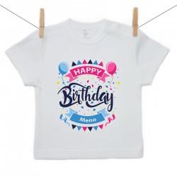 Tričko s krátkym rukávom Happy birthday s menom dieťatka
