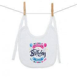 Podbradník na zaväzovanie Happy birthday s menom dieťatka