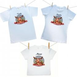 Rodinná sada (tričko s krátkym rukávom) Veselé Vianoce so sobíkom a menom dieťatka