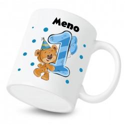 Hrnček Mám 1 rok s Medvedíkom a menom dieťatka Chlapec