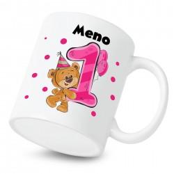 Hrnček Mám 1 rok s Medvedíkom a menom dieťatka Dievča