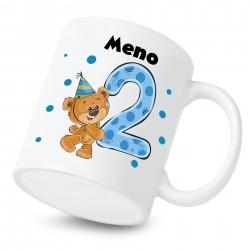 Hrnček Mám 2 roky s Medvedíkom a menom dieťatka Chlapec