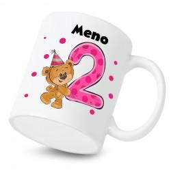 Hrnček Mám 2 roky s Medvedíkom a menom dieťatka Dievča
