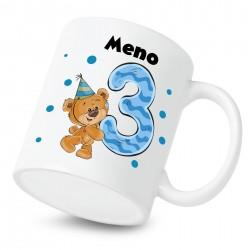 Hrnček Mám 3 roky s Medvedíkom a menom dieťatka Chlapec