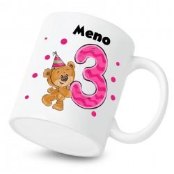 Hrnček Mám 3 roky s Medvedíkom a menom dieťatka Dievča