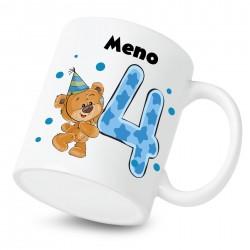 Hrnček Mám 4 roky s Medvedíkom a menom dieťatka Chlapec