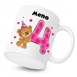 Hrnček Mám 4 roky s Medvedíkom a menom dieťatka Dievča