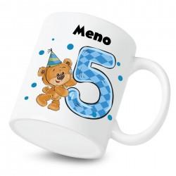 Hrnček Mám 5 rokov s Medvedíkom a menom dieťatka Chlapec