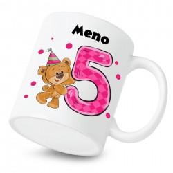 Hrnček Mám 5 rokov s Medvedíkom a menom dieťatka Dievča