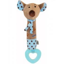 Detská pískacia plyšová hračka s hryzátkom Baby Mix myšky modrá