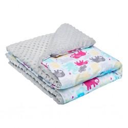 Detská deka z Minky New Baby bielo-sivá 80x102 cm