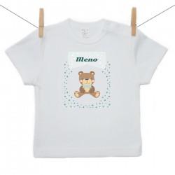 Tričko s kráktym rukávom s menom dieťaťa Medvedík Chlapec