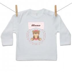 Tričko s dlhým rukávom s menom dieťaťa Medvedík Dievča