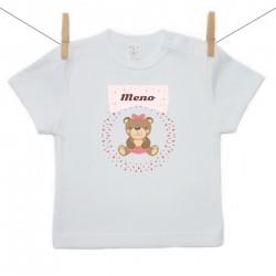 Tričko s kráktym rukávom s menom dieťaťa Medvedík Dievča