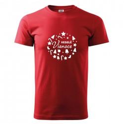Červené pánske tričko Veselé Vianoce