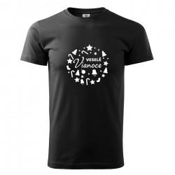 Čierné pánske tričko Veselé Vianoce