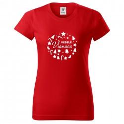 Červené dámske tričko Veselé Vianoce
