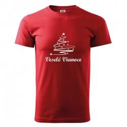 Červené pánske tričko Veselé Vianoce so stromčekom
