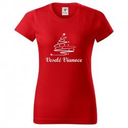 Červené dámske tričko Veselé Vianoce so stromčekom