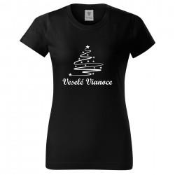 Čierné dámske tričko Veselé Vianoce so stromčekom