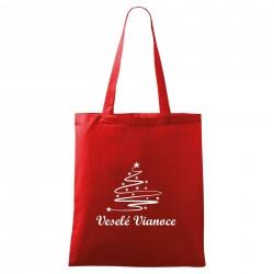 Červená taška Veselé Vianoce so stromčekom