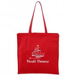 Červená Maxi taška Veselé Vianoce so stromčekom