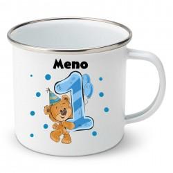 Smaltovaný hrnček Mám 1 rok s Medvedíkom a menom dieťatka Chlapec