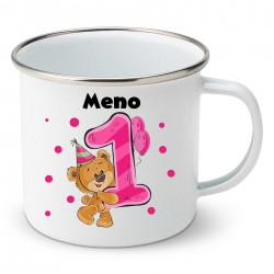 Smaltovaný hrnček Mám 1 rok s Medvedíkom a menom dieťatka Dievča