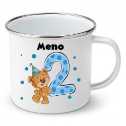 Smaltovaný hrnček Mám 2 roky s Medvedíkom a menom dieťatka Chlapec