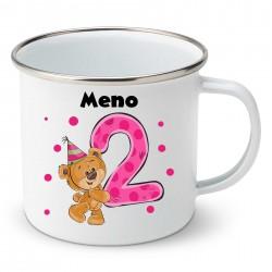 Smaltovaný hrnček Mám 2 roky s Medvedíkom a menom dieťatka Dievča