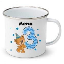 Smaltovaný hrnček Mám 3 roky s Medvedíkom a menom dieťatka Chlapec