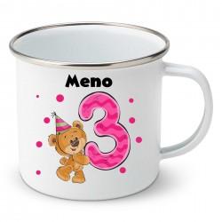 Smaltovaný hrnček Mám 3 roky s Medvedíkom a menom dieťatka Dievča