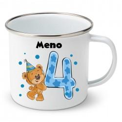 Smaltovaný hrnček Mám 4 roky s Medvedíkom a menom dieťatka Chlapec