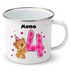 Smaltovaný hrnček Mám 4 roky s Medvedíkom a menom dieťatka Dievča