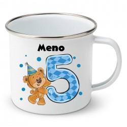 Smaltovaný hrnček Mám 5 rokov s Medvedíkom a menom dieťatka Chlapec