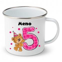 Smaltovaný hrnček Mám 5 rokov s Medvedíkom a menom dieťatka Dievča