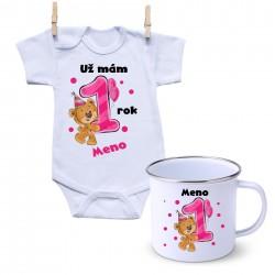 Sada Mám 1 rok s Medvedíkom a menom dieťatka Dievča