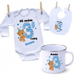 Sada Mám 3 roky s Medvedíkom a menom dieťatka Chlapec
